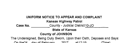 Johnson County Ticket Issued my Kansas Highway Patrol